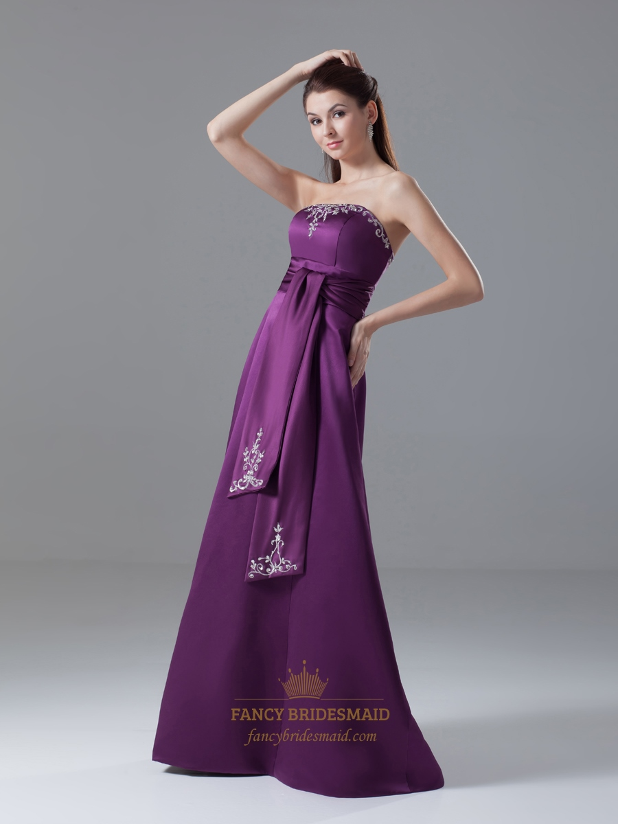 Elegant Purple Strapless Lace Embroidered Satin Prom Dress
