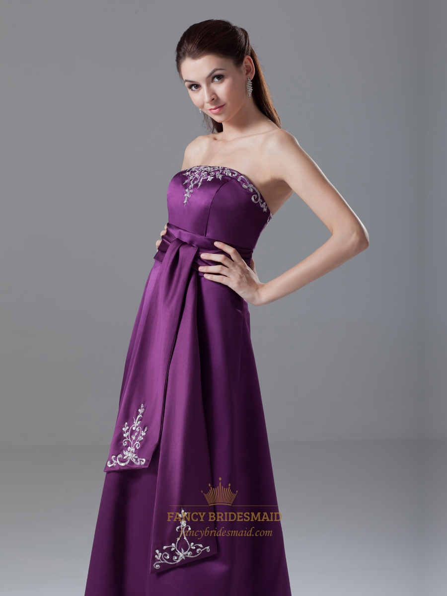 Elegant Purple Strapless Lace Embroidered Satin Prom Dress
