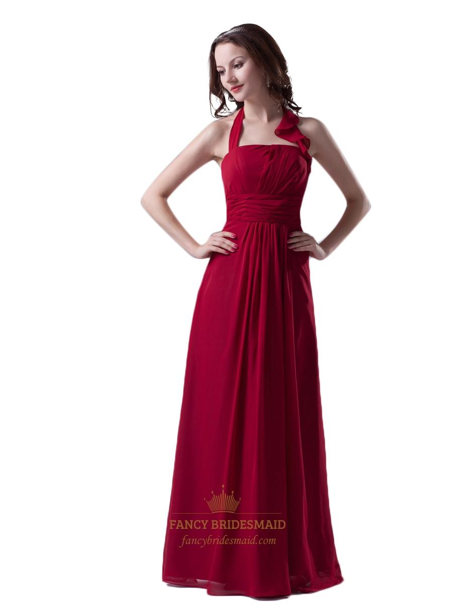 Bridesmaid dress with ruffle collar fancy bridesmaid dresses red chiffon halter floor length bridesmaid dress with ruffle collar ombrellifo Images