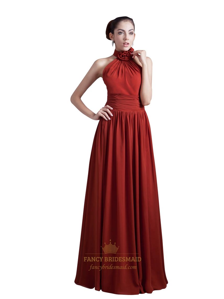 Burgundy Chiffon Halter Neck Long Bridesmaid Dress With Flower Detail | Fancy Bridesmaid Dresses