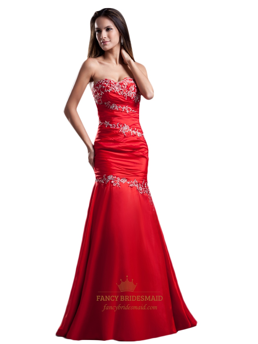 Red Sweetheart Neckline Mermaid Prom Dress With Lace Embroidery ...