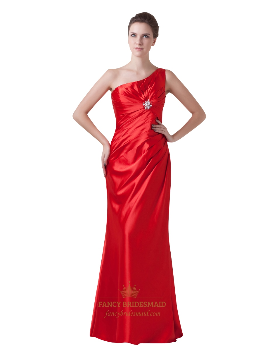 Red one shoulder gathered front bridesmaid dress with beaded red one shoulder gathered front bridesmaid dress with beaded detail ombrellifo Choice Image