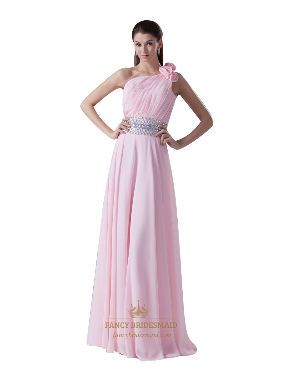 Pink beaded waist one shoulder bridesmaid dresses with flower pink beaded waist one shoulder bridesmaid dresses with flower detail ombrellifo Image collections