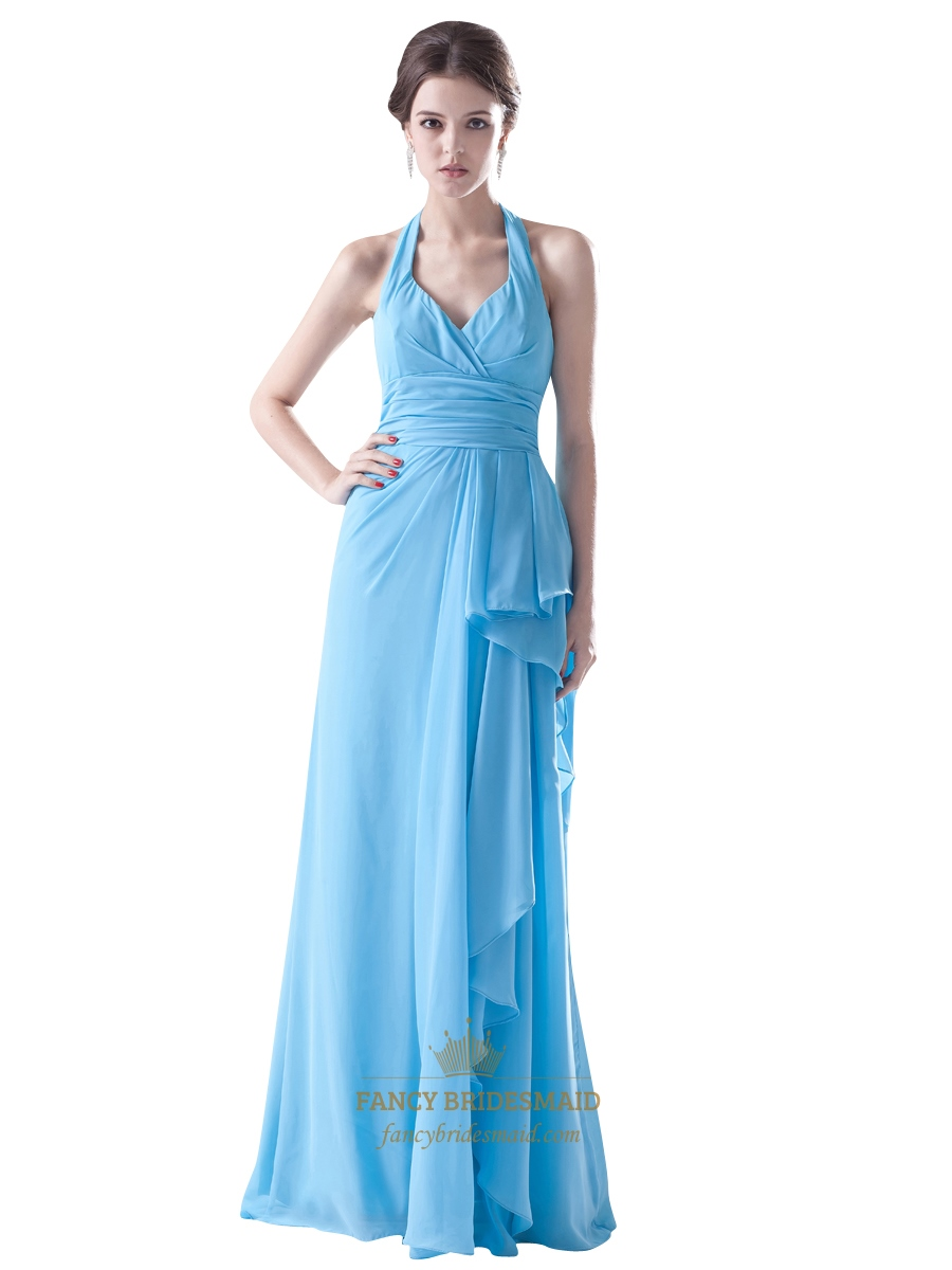 Light blue crinkle chiffon halter bridesmaid dress with for Light blue dress for wedding
