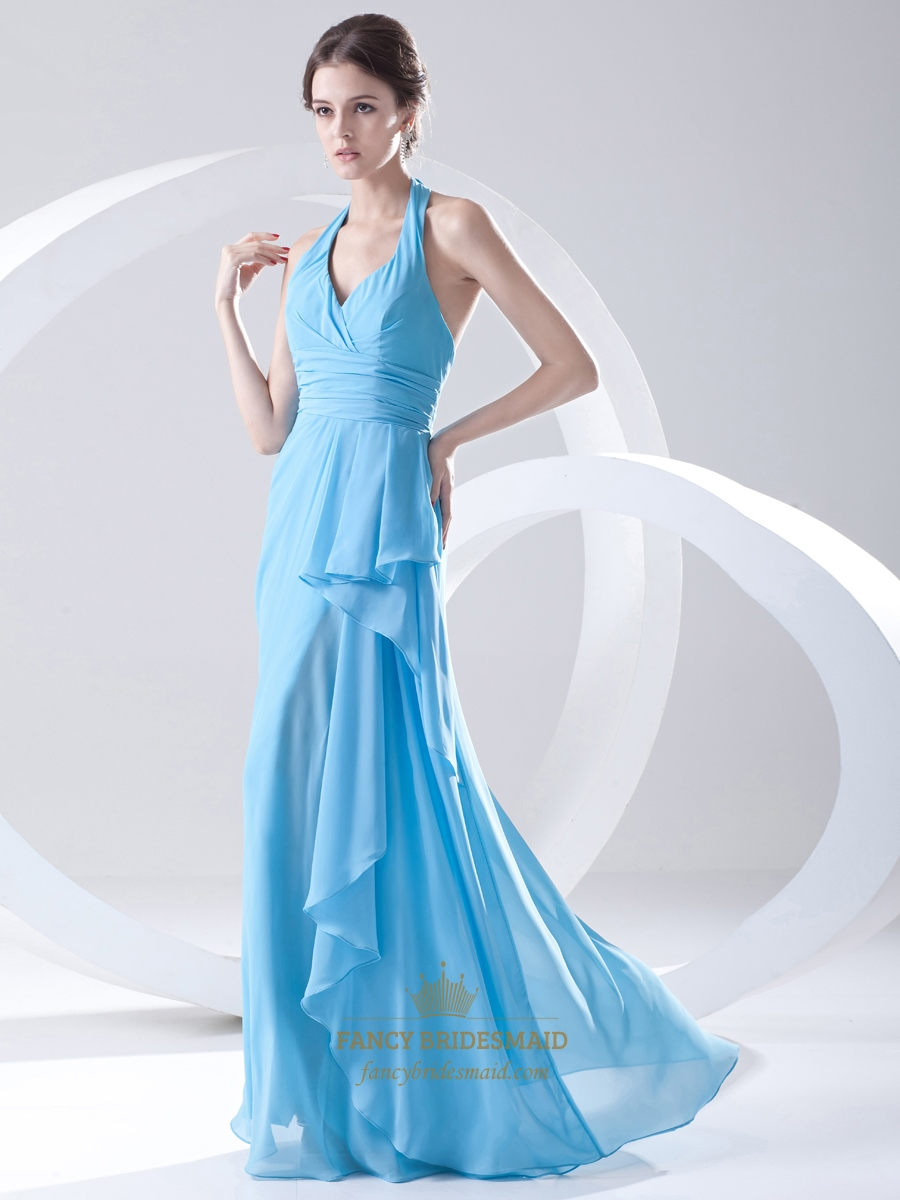 Light Blue Crinkle Chiffon Halter Bridesmaid Dress With Front ...