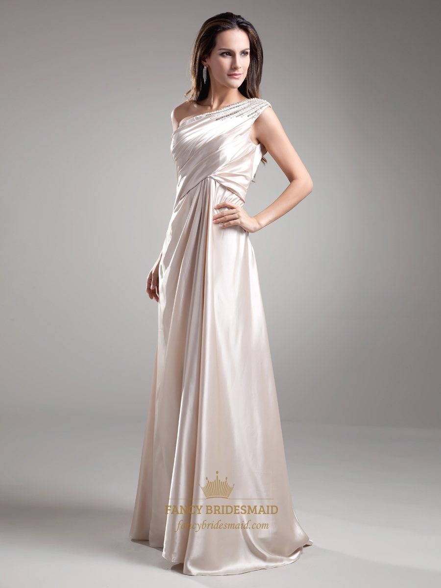 c53d39c5eff Light Champagne One Shoulder Long Bridesmaid Dresses With Beaded Strap