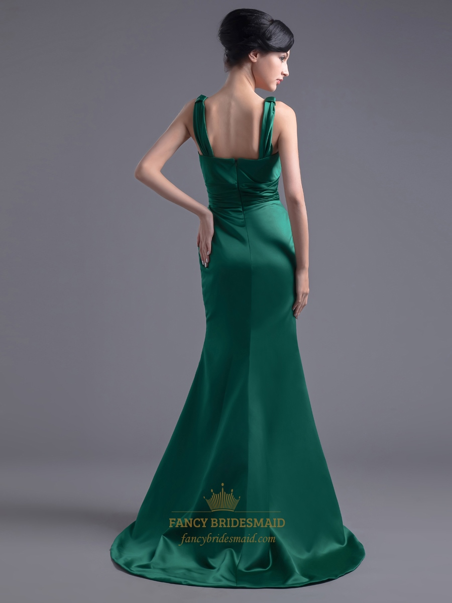 Vintage Emerald Green Mermaid V-Neck Prom Dress With ...