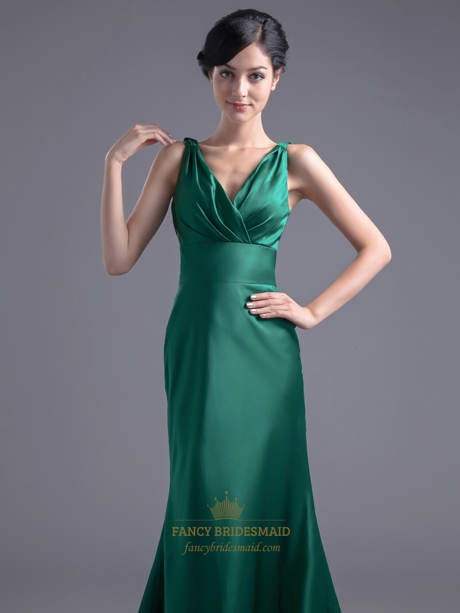 vintage emerald green mermaid vneck prom dress with