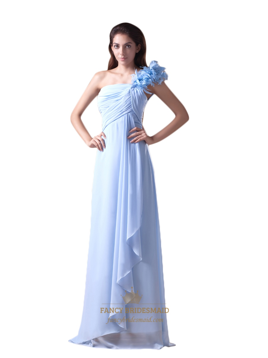 Light blue chiffon one shoulder bridesmaid dresses with for Light blue dress for wedding