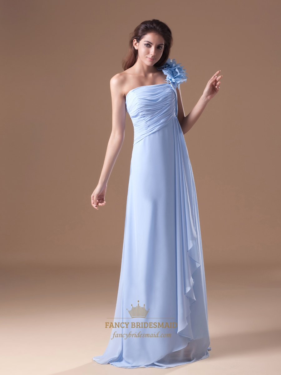 Light blue chiffon one shoulder bridesmaid dresses with for Wedding dress with blue detail