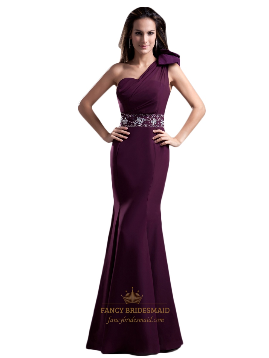 Chiffon One Shoulder Purple Prom Dress