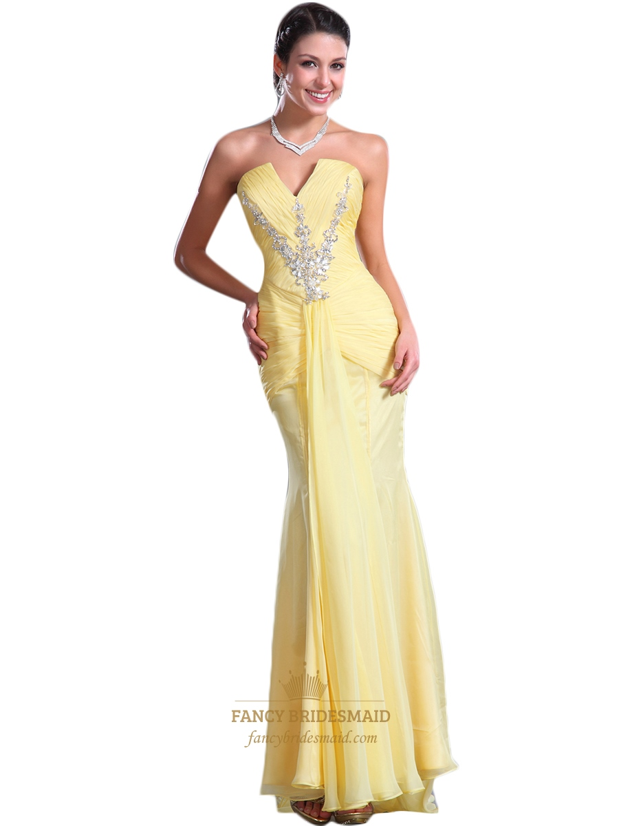Yellow Mermaid Chiffon Strapless Prom Dress With Ruched Bust And ...