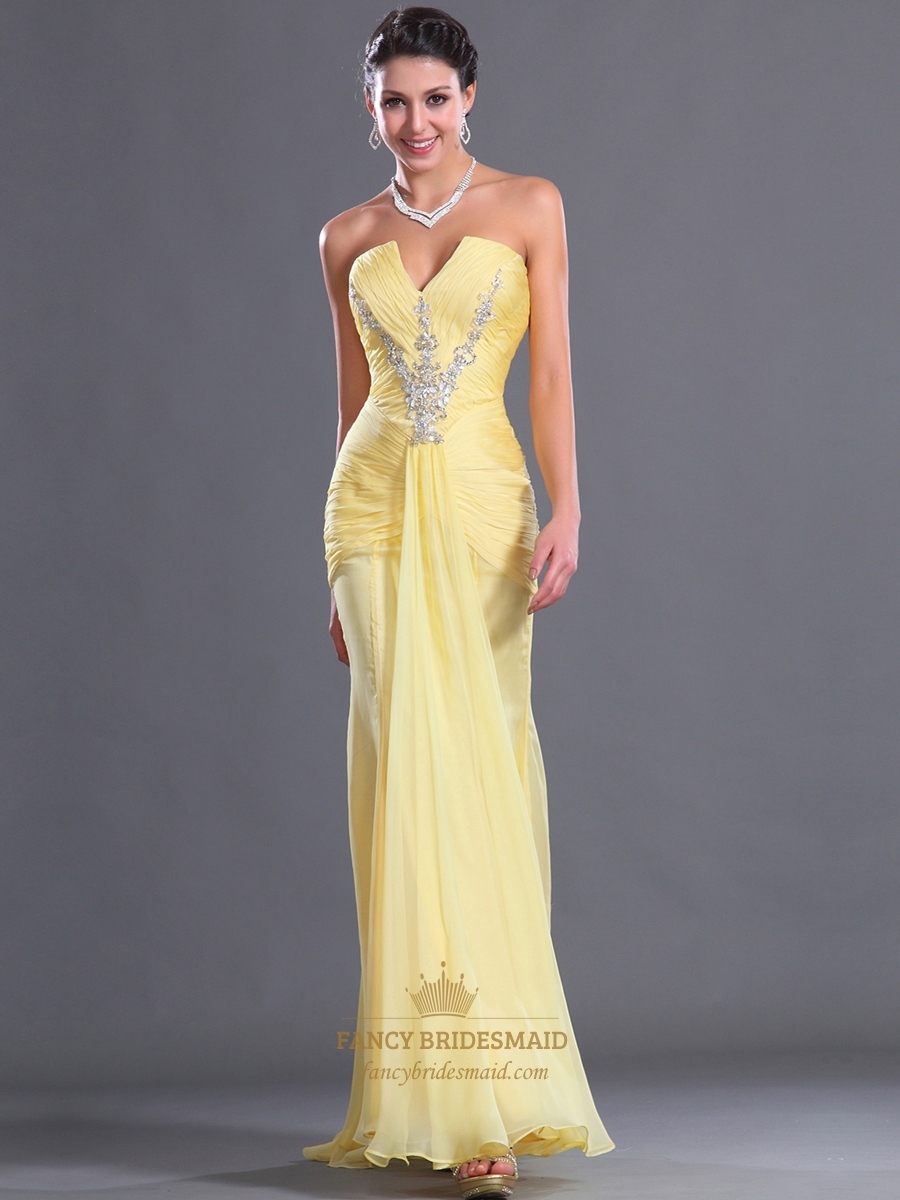 Yellow Mermaid Chiffon Strapless Prom Dress With Ruched