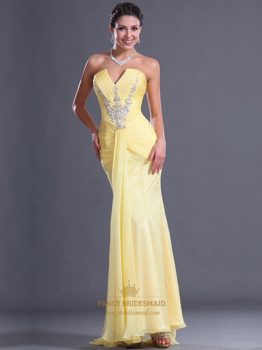 Yellow Chiffon Prom Dresses - Homecoming Prom Dresses