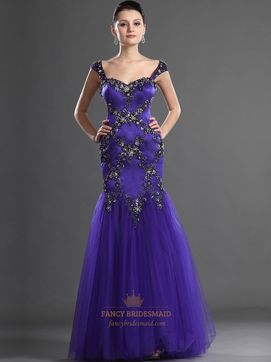 Purple Mermaid Rhinestone Embellished Floor Length Cap