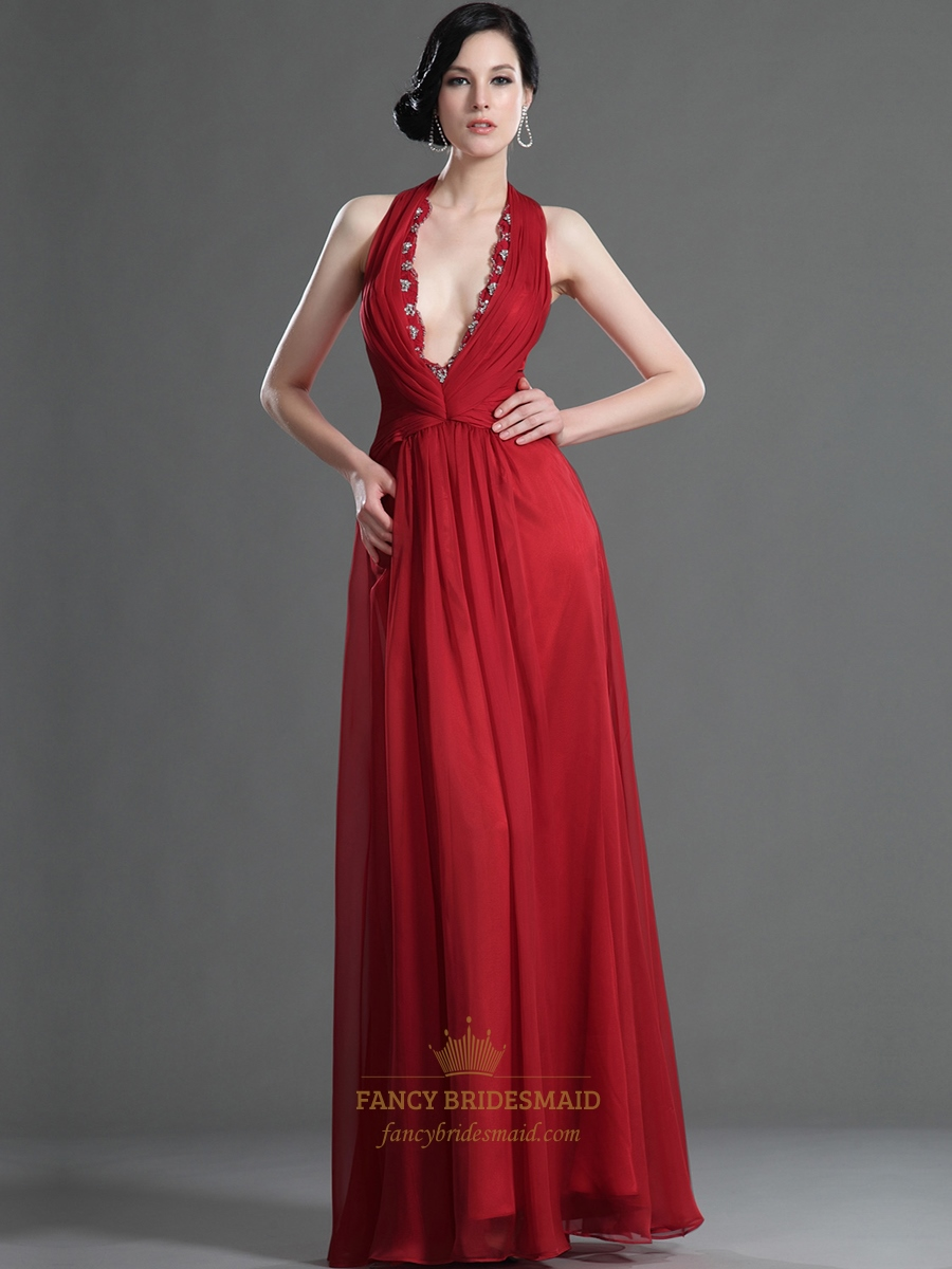 Red Halter Deep V Neck Beaded Neckline Chiffon Floor