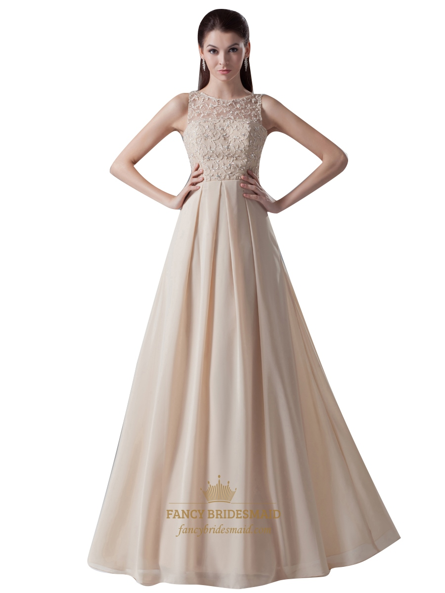 Champagne chiffon sheer illusion neckline dress with embellished champagne chiffon sheer illusion neckline dress with embellished bodice ombrellifo Choice Image