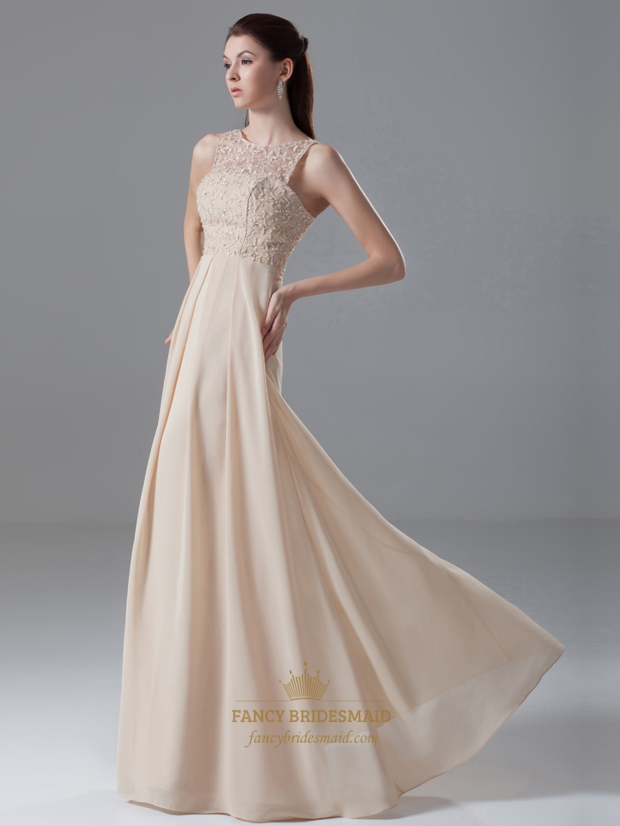 Champagne chiffon sheer illusion neckline dress with embellished champagne chiffon sheer illusion neckline dress with embellished bodice ombrellifo Image collections