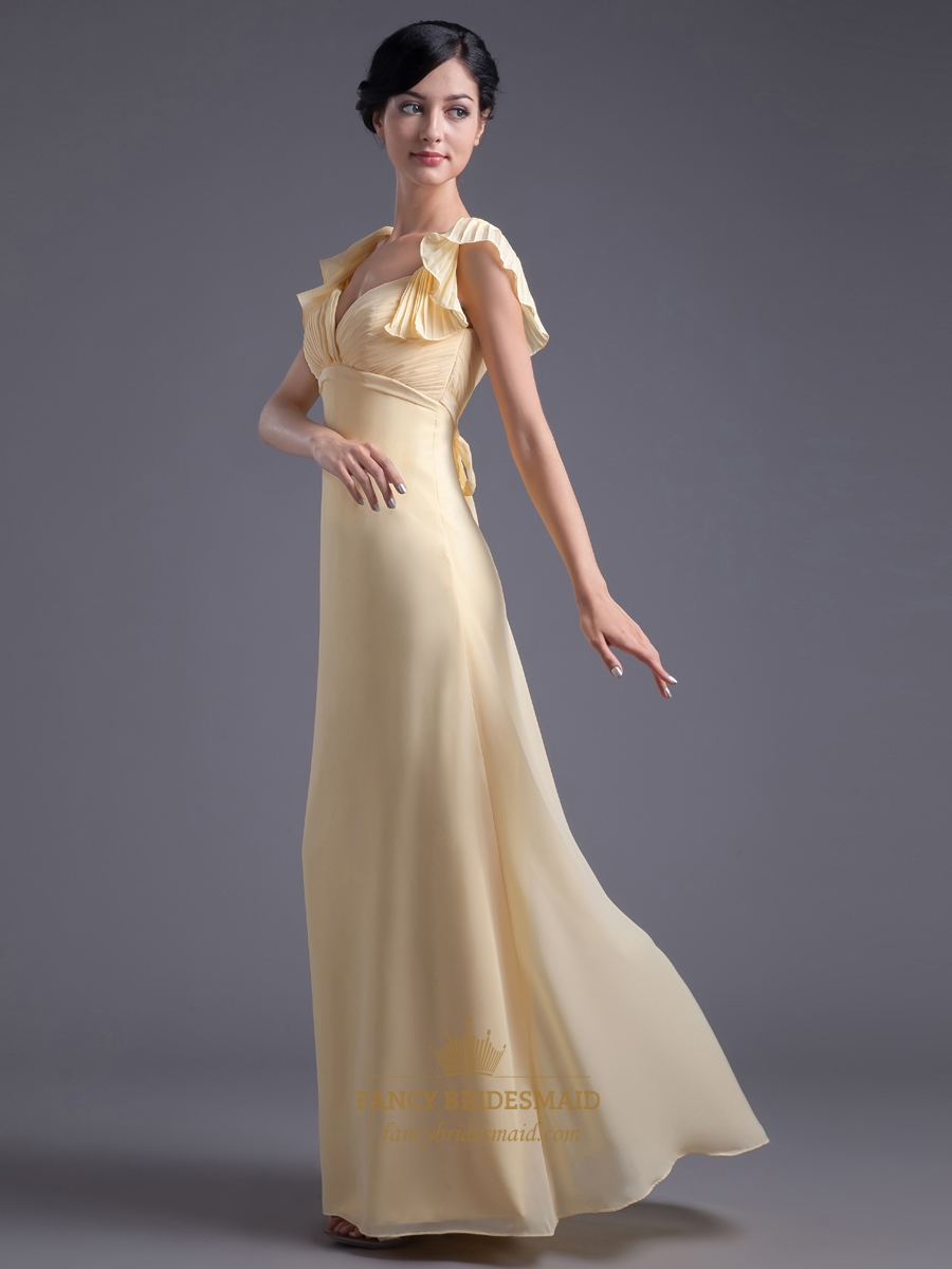 Yellow Chiffon Empire Waist Long Bridesmaid Dress With