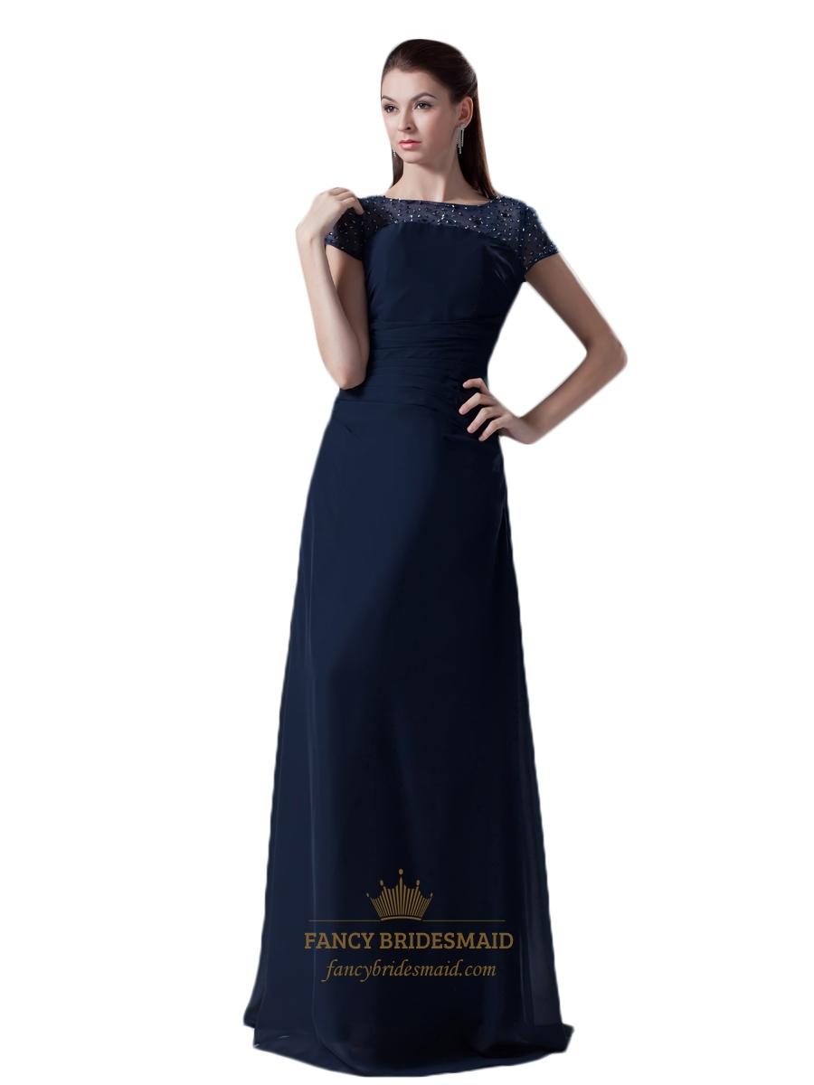 75b0f597b78 Navy Blue Beaded Illusion Neckline Chiffon Prom Dress With Cap Sleeves SKU  -NW966