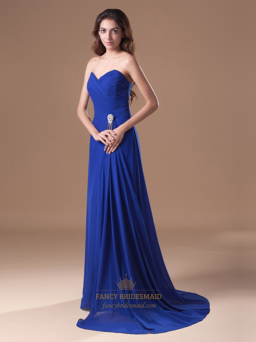 Royal blue strapless flowy chiffon bridesmaid dresses with for Wedding dress with blue detail