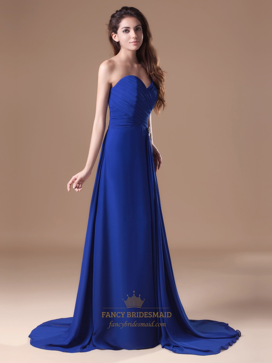 Royal Blue Strapless Flowy Chiffon Bridesmaid Dresses With
