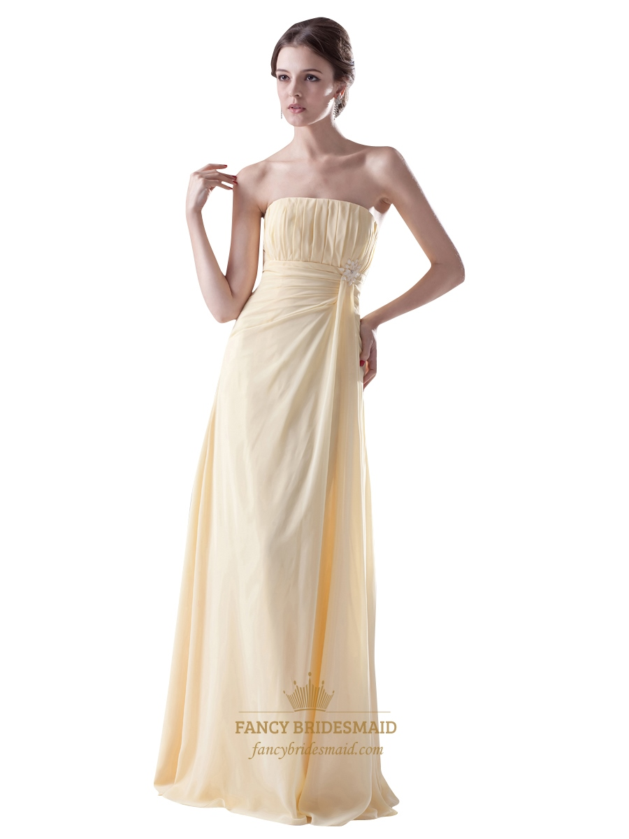 Yellow Strapless Bridesmaid Dresses 13