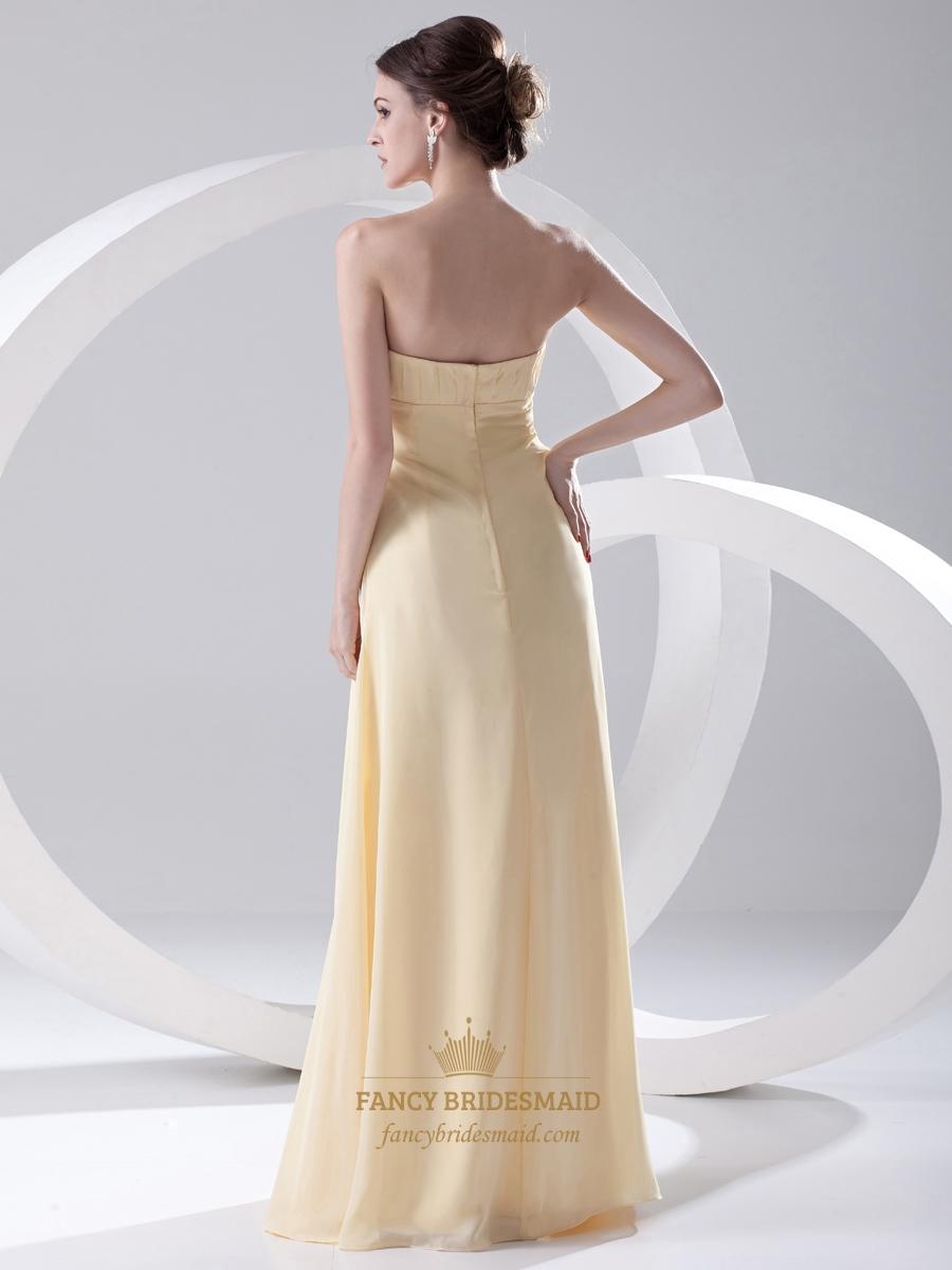 pale yellow strapless empire chiffon long bridesmaid dress