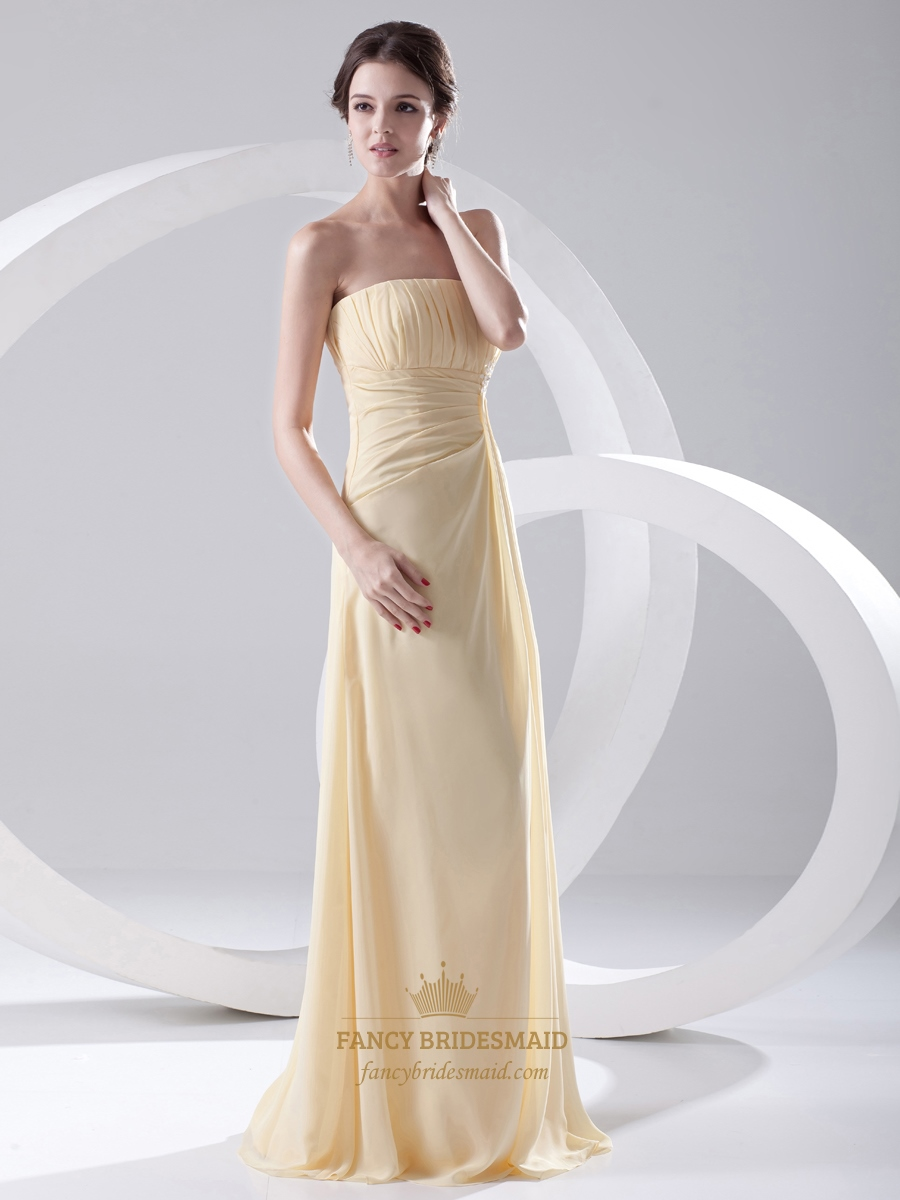 Pale Yellow Strapless Empire Chiffon Long Bridesmaid Dress With Ruching