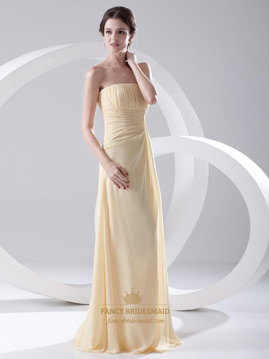Pale Yellow Strapless Empire Chiffon Long Bridesmaid Dress With Ruching