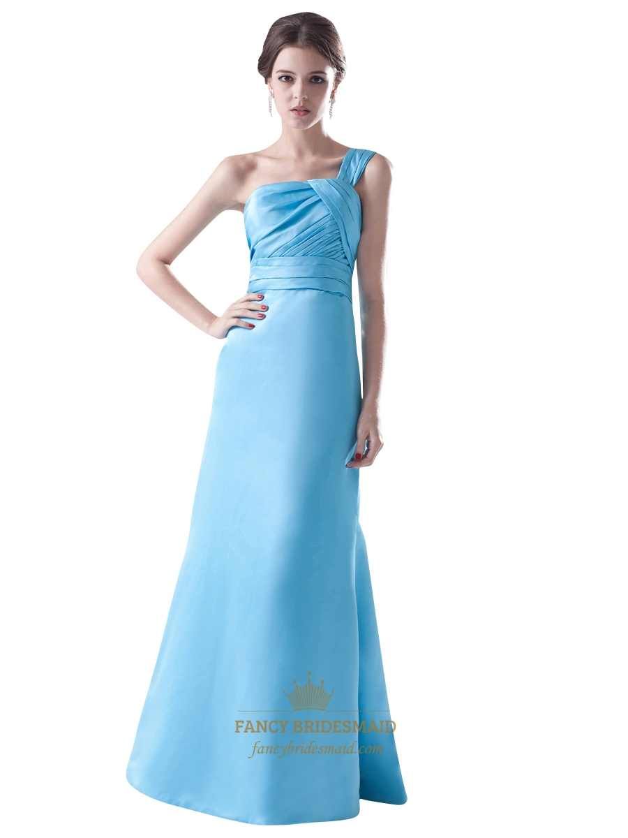Aqua blue one shoulder a line taffeta bridesmaid dress for Aqua blue dress for wedding