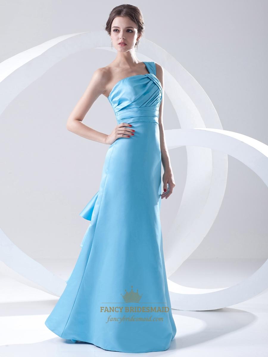 Aqua blue one shoulder a line taffeta bridesmaid dress for Wedding dress with blue detail