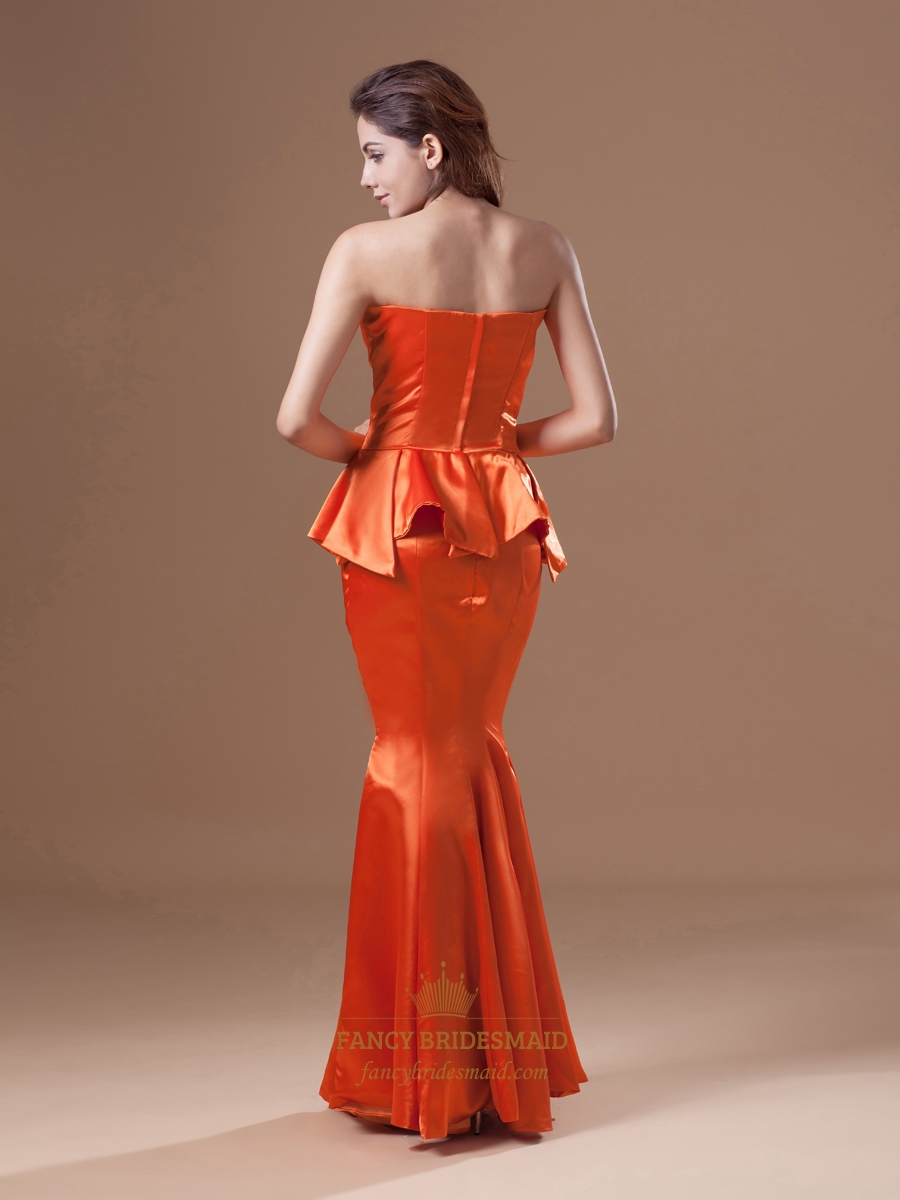 orange mermaid floor length strapless sweetheart peplum