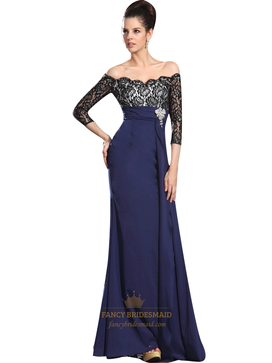 70e480a59831 Navy Blue Chiffon Off The Shoulder Lace Bodice Prom Dress With Sleeves SKU  -NW972