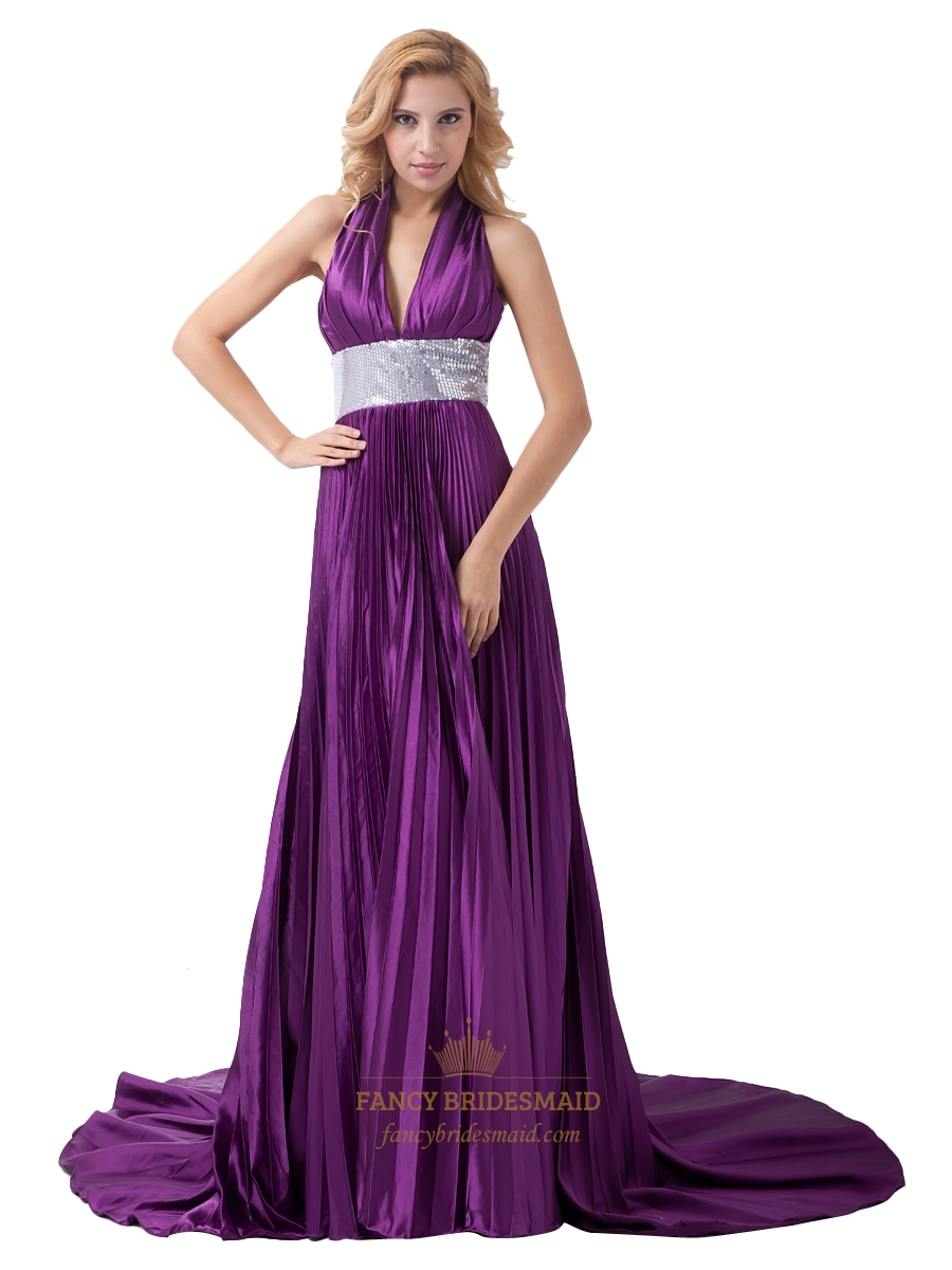 Halter Deep V Neck Prom Dress | Fancy Bridesmaid Dresses