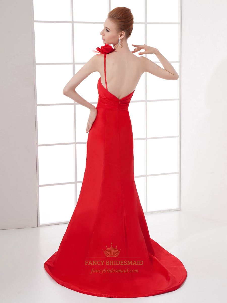 Red One Shoulder Mermaid Pleated Open Back Long Prom Dress With ...