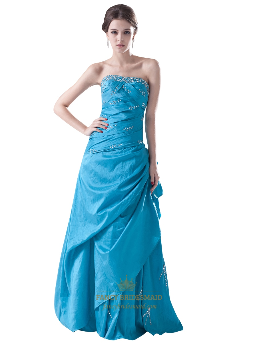 Blue Strapless Beaded Embellished Taffeta Prom Dress With A Side ...