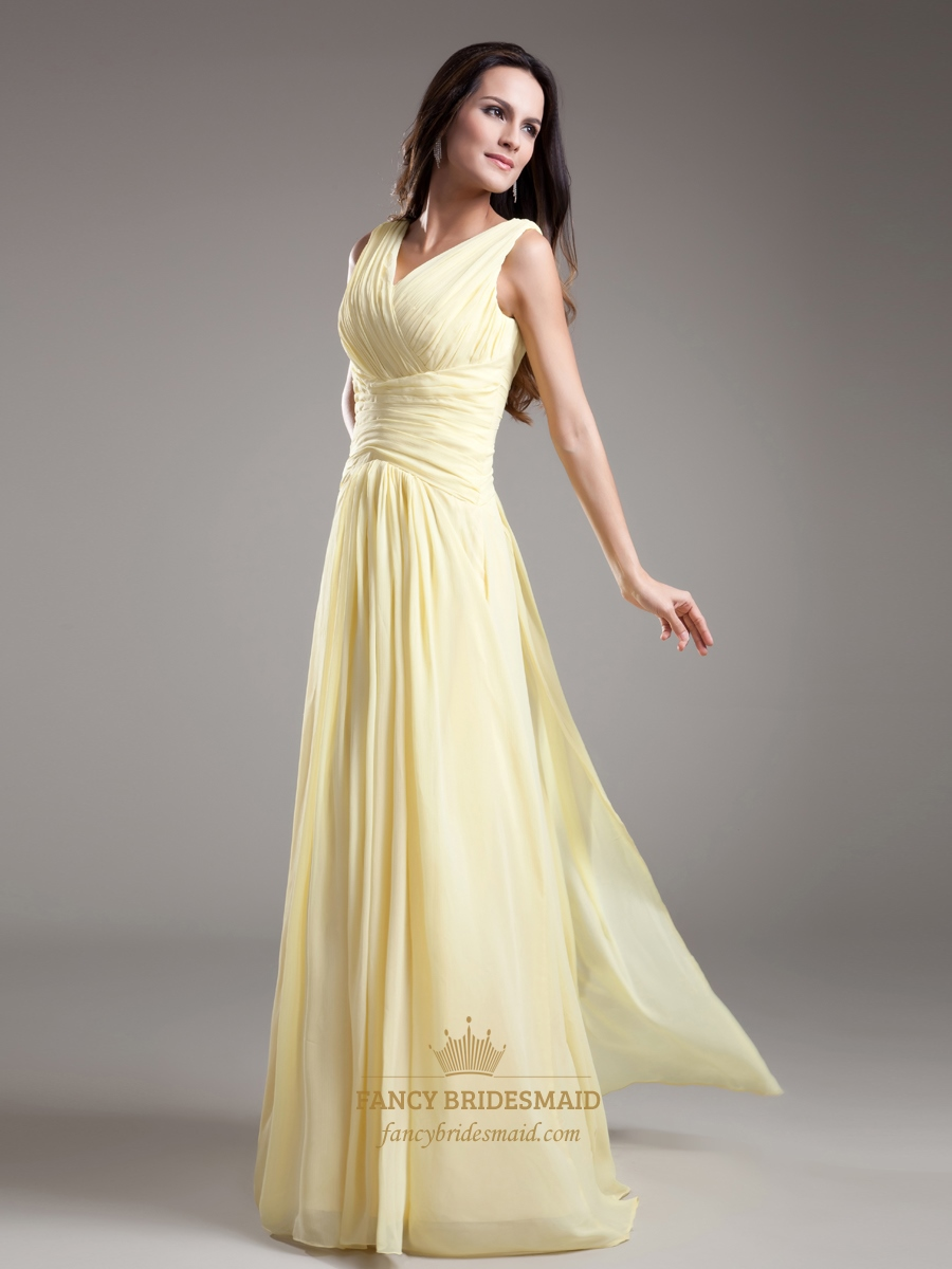 Elegant light yellow v neck sleevless ruched chiffon for Yellow dresses for wedding
