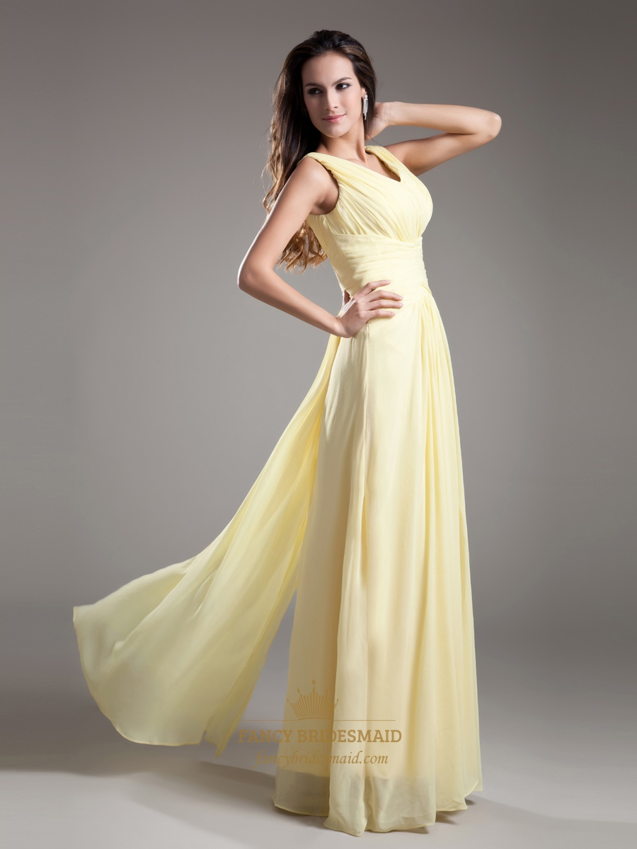 elegant light yellow v neck sleevless ruched chiffon