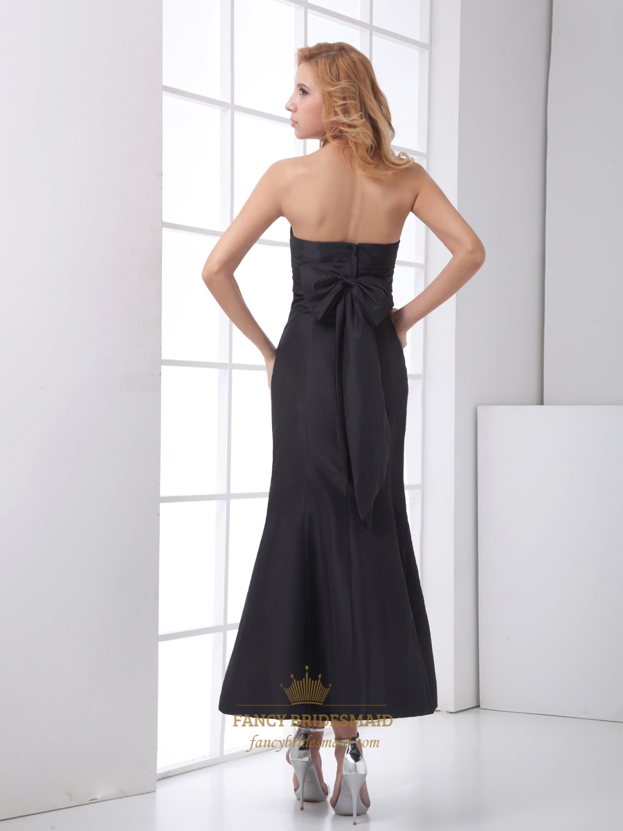 Black Strapless Mermaid Ankle Length Prom Dress With Bow
