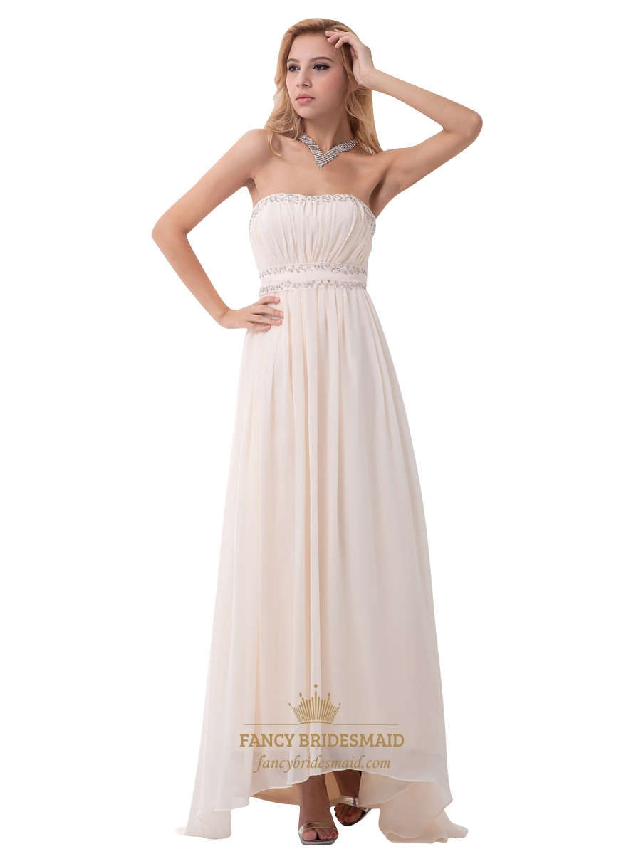 champagne strapless ruched bodice beaded chiffon floor