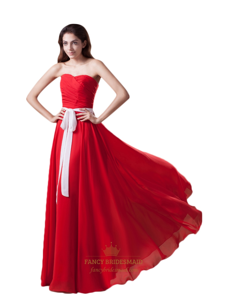 Red bridesmaid dress with white sash fancy bridesmaid dresses red chiffon strapless sweetheart pleated long bridesmaid dress with sash ombrellifo Image collections