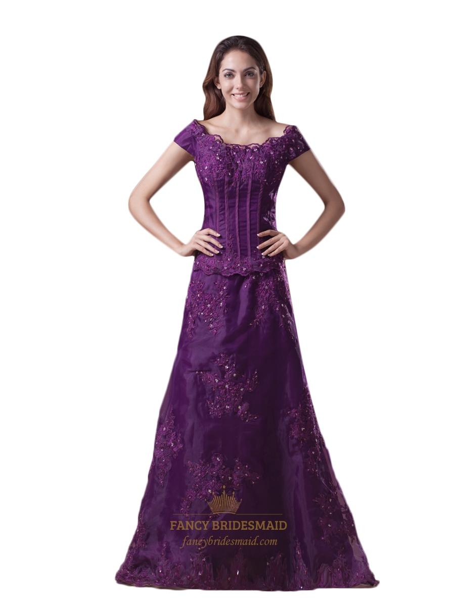 Purple Off The Shoulder A Line Lace Applique Prom Dress With Cap ...