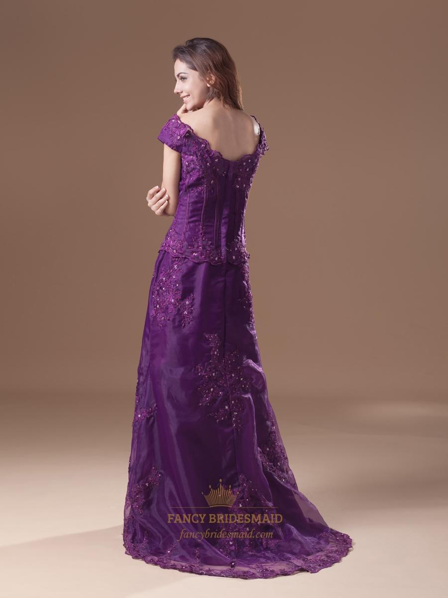 purple off the shoulder a line lace applique prom dress