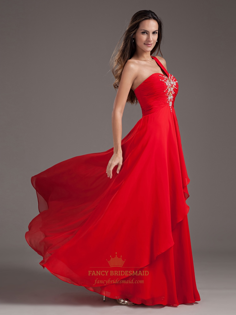 Flowy Red One Shoulder Sweetheart Neckline Prom Dresses