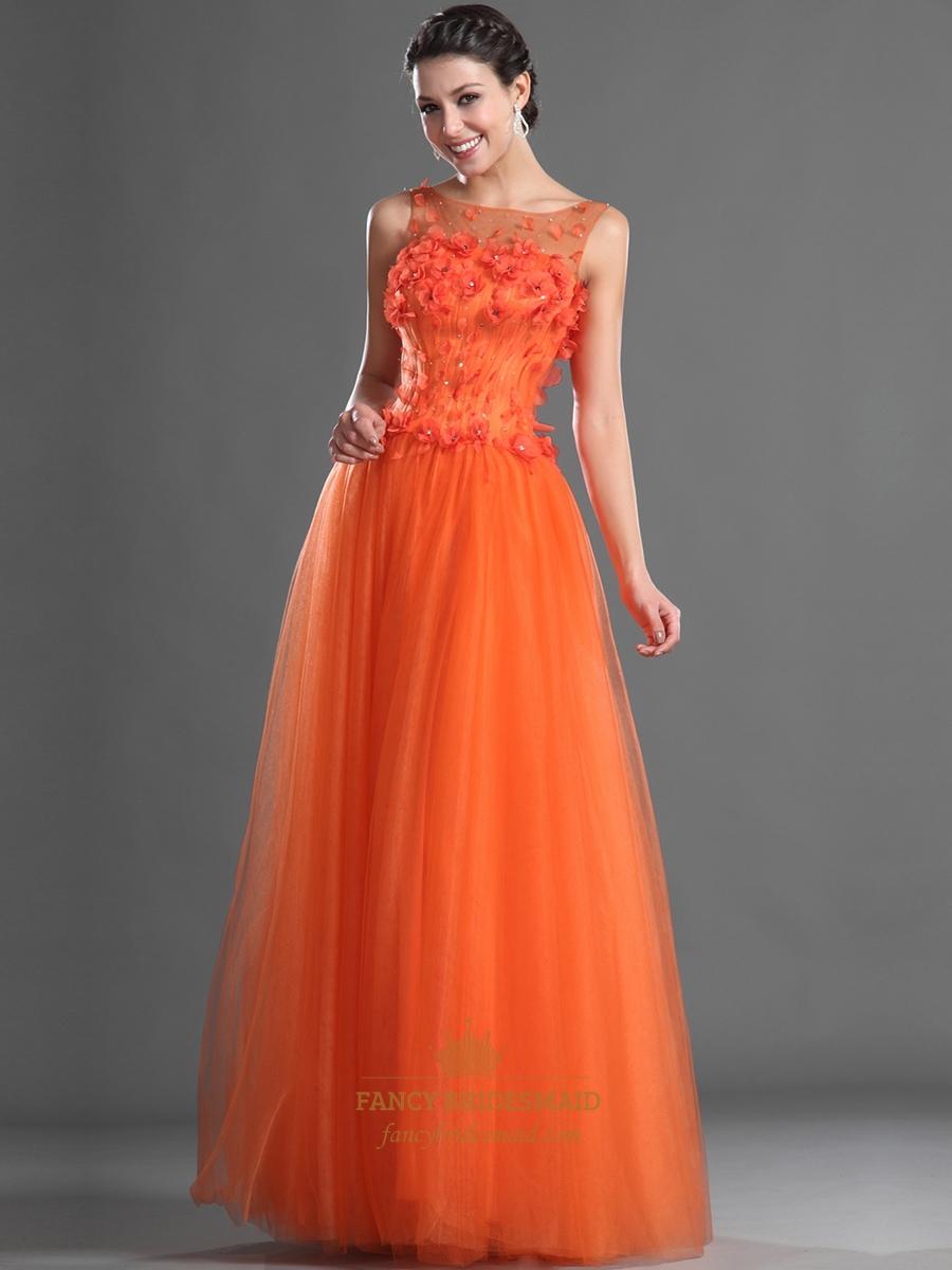 orange sheer illusion neckline floor length tulle prom