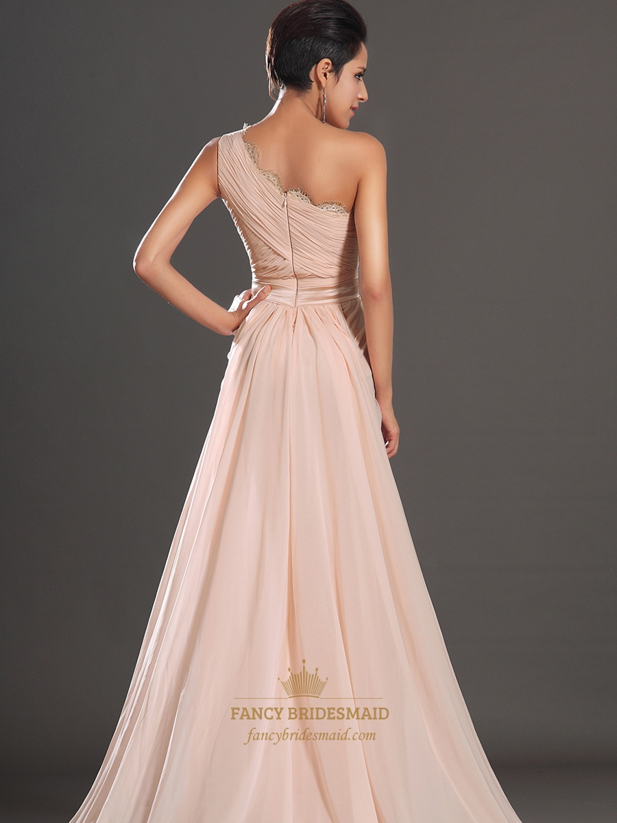 Flowy Peach One Shoulder Floor Length Prom Dress With Lace Detail ...