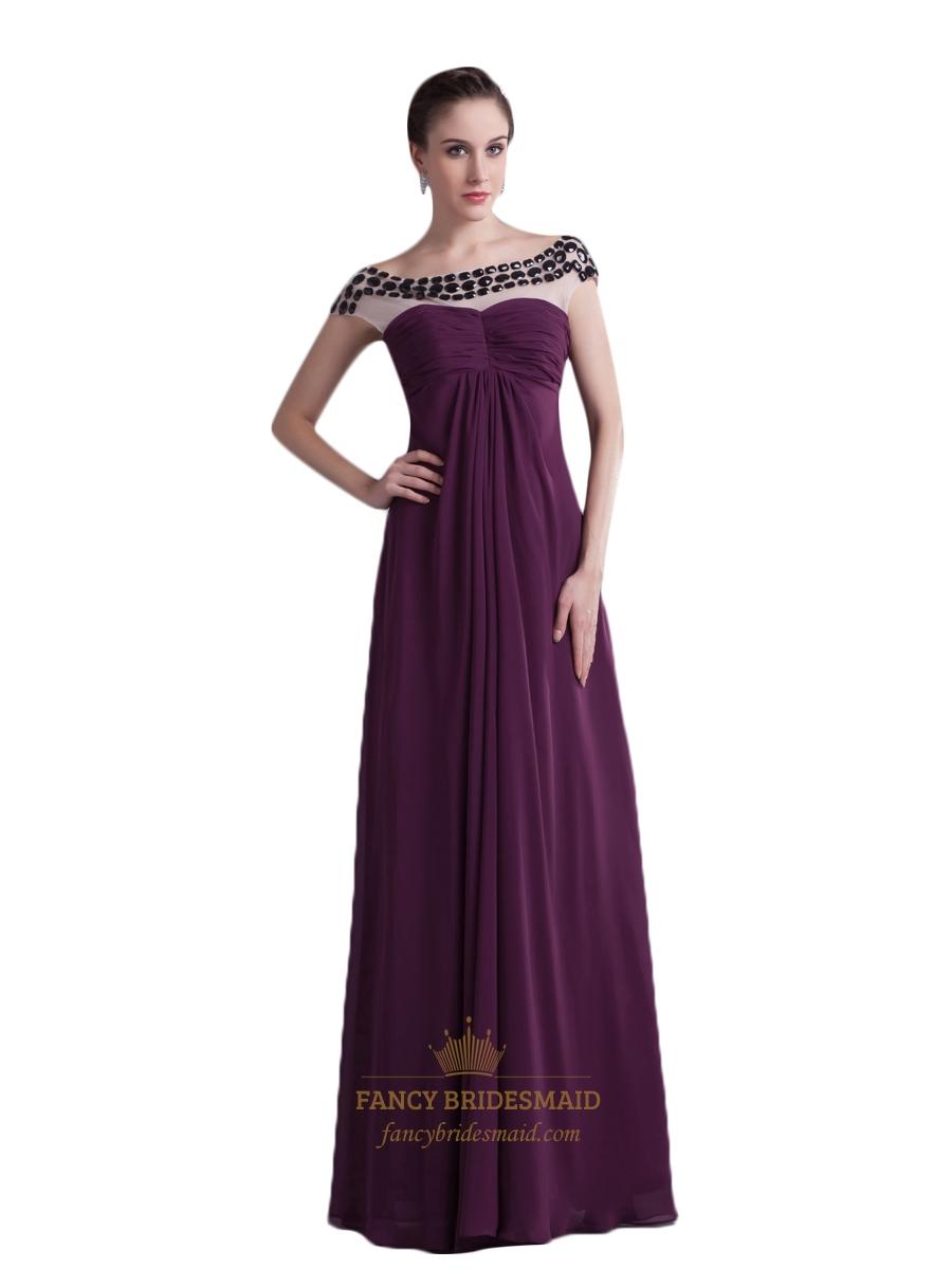 Grape chiffon empire sheer illusion neckline prom dress for Wedding dresses with sheer illusion neckline
