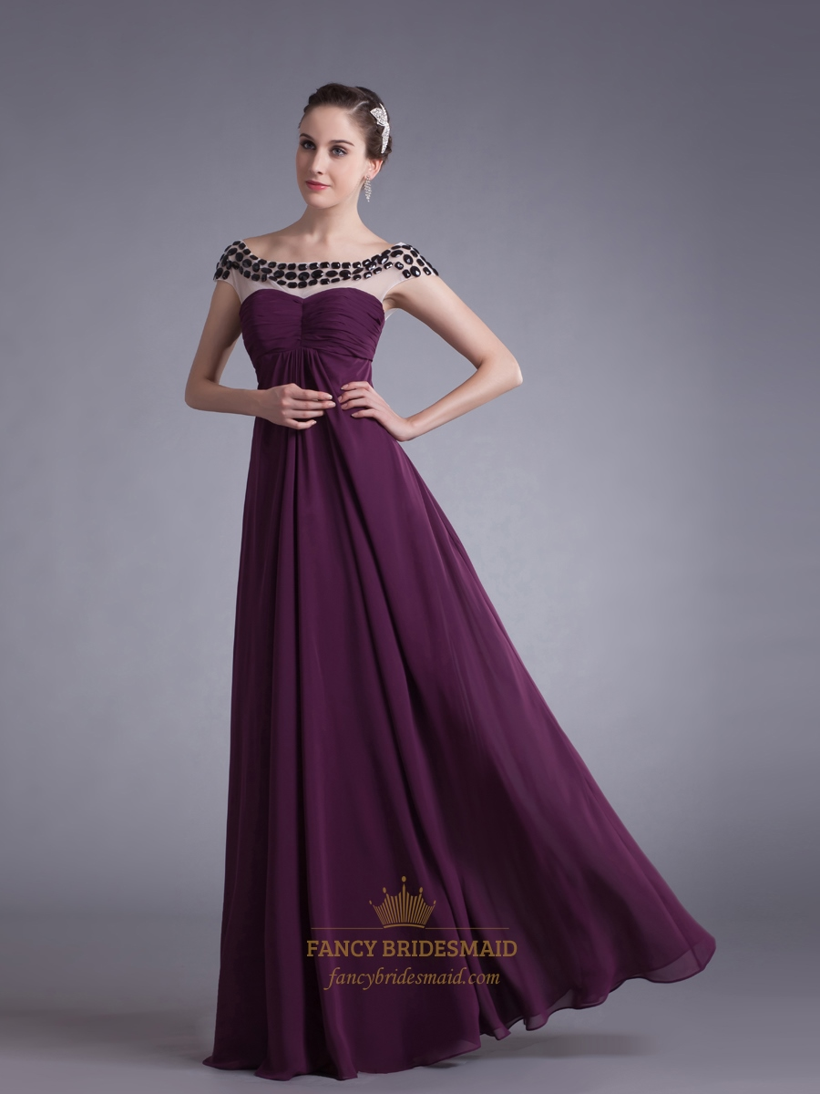 Grape Chiffon Empire Sheer Illusion Neckline Prom Dress