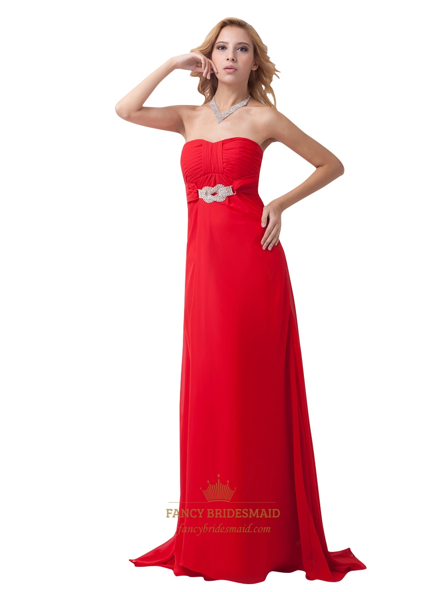 Red Strapless Chiffon Cut Out Back Empire Prom Dress With Beaded ...